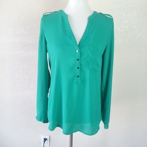 Kenneth Cole Green Long Sleeve Blouse